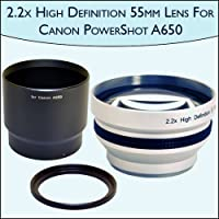 2.2x High Definition Telephoto Camera 55mm Lens For Canon PowerShot A650