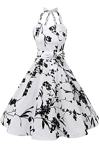 Topdress Women'sVintage Polka Audrey Dress 1950s Halter Retro Cocktail Dress Black Floral M New