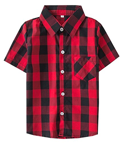 Toddlers Boys Little Kids Short Sleeves Button Down Plaid Shirt Tops, Red Black, Tag 120 for Age 4-5 Years
