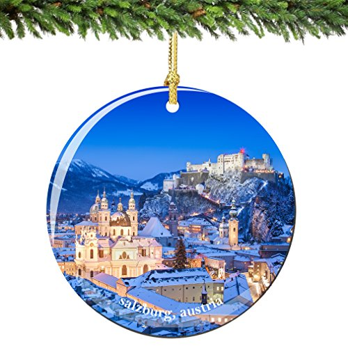 Salzburg Austria Christmas Ornament Porcelain, Double Sided 2.75 Inches