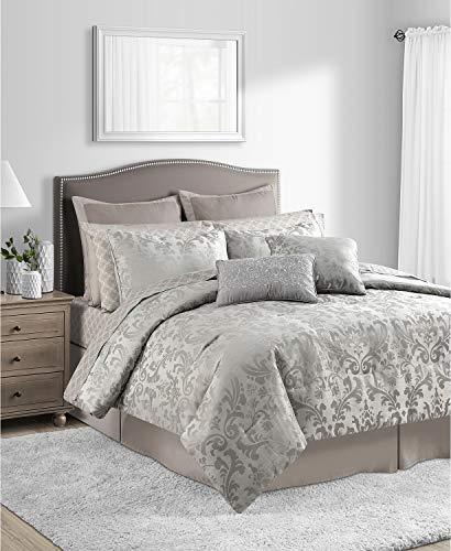 Sunham 20 Pc Taupe Queen Comforter Set Beige Ground Damask Bedding - European Shams Decorative Pillows Pillowcases