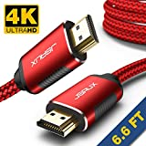 HDMI Cable 6.6ft, JSAUX [ 4K UHD HDMI 2.0 ] High Speed Braided Cord Compatible Ethernet & Audio Return - Video 4K 2160p HD 1080p 3D, Fire Apple TV Xbox Playstation PS3/4 (Red)