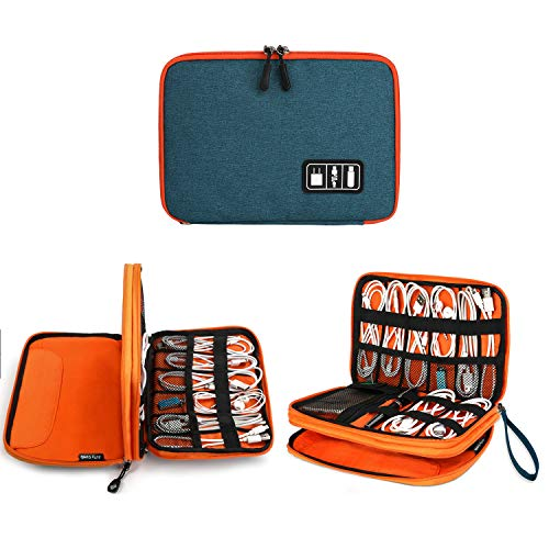 Electronics Organizer, Jelly Comb Electronic Accessories Cable Organizer Bag Waterproof Travel Cable Storage Bag for Charging Cable, Cellphone, Mini Tablet (Up to 7.9) and More (Orange and Blue)