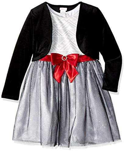 - Youngland Girls' Big 2 Piece Glitter Print Mesh Dress Cardigan, White/Grey/Black, 14