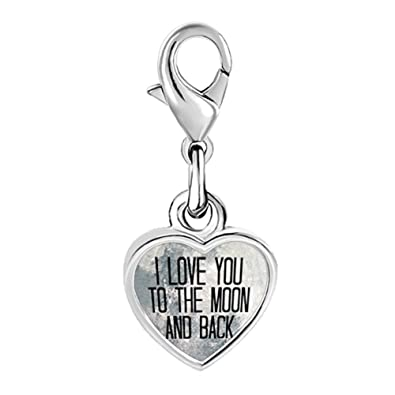 7713844c1155c Pugster Silver Plated I Love You To The Moon And Back Clip Heart Charm  Beads fit Pandora Bracelet