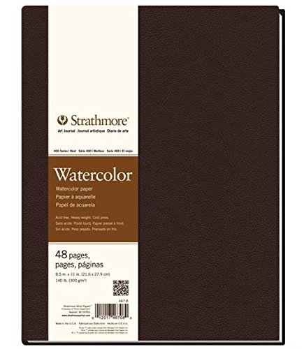 Strathmore 467-8 400 Series Hardbound Watercolor Art Journal, 8.5''x11'' 24 Sheets by Strathmore