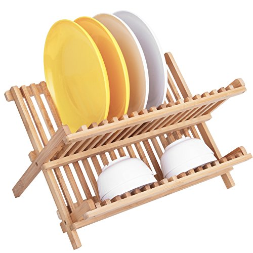 Dish Rack,HBlife Bamboo Folding 2-Tier Collapsible Dish Drying Rack Holder Drainer Utensils & Dishes Wooden Dish Rack