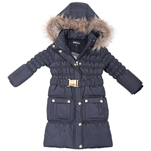 [[39756DH-TypicalBlack-10/12] Girl's Puffer Jacket: Long Zip-Up Coat, Hood, Belt] (Viking Outfits For Adults)