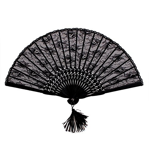 Wowlife Vintage Retro Royal Court Flower Lace Handheld Folding Hand Fan for Lady Girl -