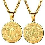 PROSTEEL Hombres Collar Colgante San Benito Cruz Medalla...
