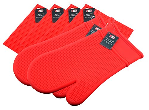 Silicone Oven Mitt and Pot Holder - Kitchen Oven Glove for Cooking, Baking, Grilling - Pot Holder useable as Jar Opener, Trivet Mat, Garlic Peeler - Dishwasher Safe. By Ai-De-Chef (6-Pack, Red)