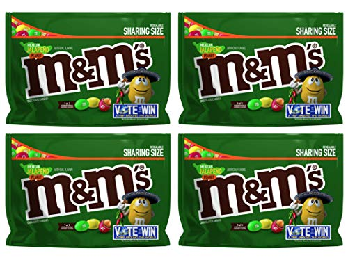 M&M's (Pack of 4) Chocolate Candy Flavor Vote Mexican Jalapeno Peanut Sharing Size, 9.6 Ounce -