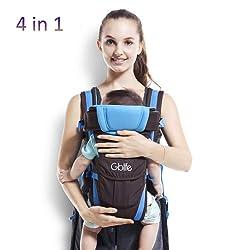 GBlife Porte Bébé Ergonomique 4 Positions Multifonctionnel pour Bébé Nouveau-né Petits Enfants Avec Poche Pratique Confortable Ajustable 0-24 Mois 16kg (Bleu)