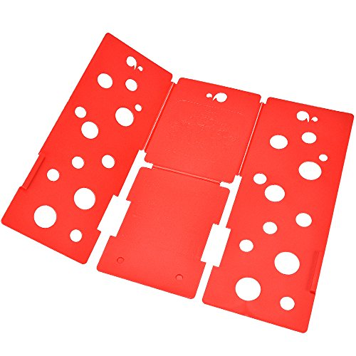 BOXLEGEND V3 shirt folding board t shirts folder easy and fast For kid to fold Clothes folding boards Laundry folders flipfold 4mm. Red