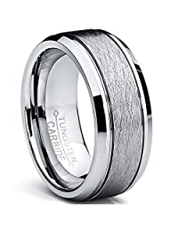 Tungsten Carbide Men's Brushed Center Wedding Band Ring, Comfort Fit,8 mm Sizes 7 to 15