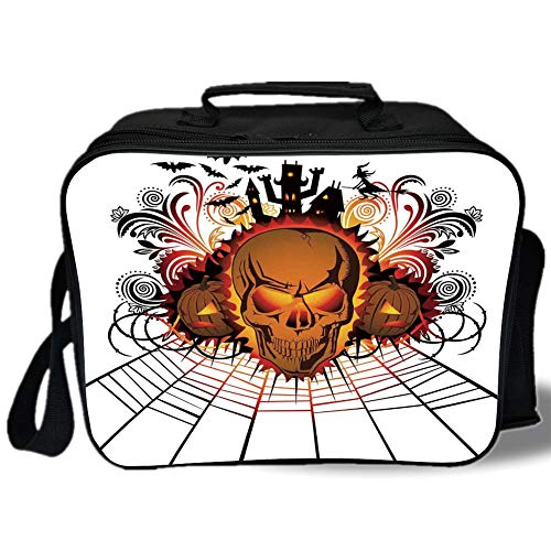 Insulated Lunch Bag,Halloween Decorations,Angry Skull Face on Bonfire Spirits of Other World Concept Bats Spider Web,Multi,for Work/School/Picnic, Grey