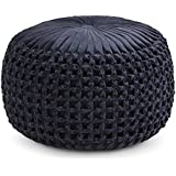 Simpli Home AXCPF-24 Renee Transitional Round Pouf in Navy Velvet, Fully Assembled