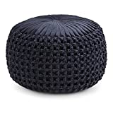 Simpli Home Renee Round Pouf, Navy