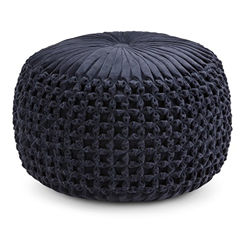 Simpli Home AXCPF-24 Renee Transitional Round Pouf in Navy Velvet, Fully Assembled (Ottoman Pouf Velvet)