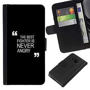 KLONGSHOP // Tirón de la caja Cartera de cuero con ranuras para tarjetas - negro de motivación de boxeo combate Zen - HTC One M7 //