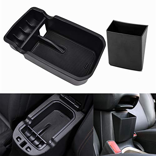 YOCTM Black Center Console Armrest Storage Box Holder Pallet Organizer Cover Trim for Jeep Compass 2017 2018 Interior Car Styling Accessories (Pack of 2)