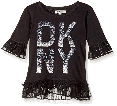 DKNY Little Girls' Long Sleeve T-Shirt (More Styles Available), 1116DG Black, 4