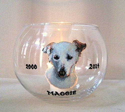 Pet Loss Memorial Jar, Candle Holder, Dog Portrait, Hand Painted Pet