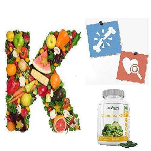 Vitamina K2 MK7. Suplemento Natural . Protege Corazón, Cerebro. Huesos Fuertes. 180 Cápsulas de Clorofila 200mg. VEGANO. Dosis: 1 al día. CE. N2 ...