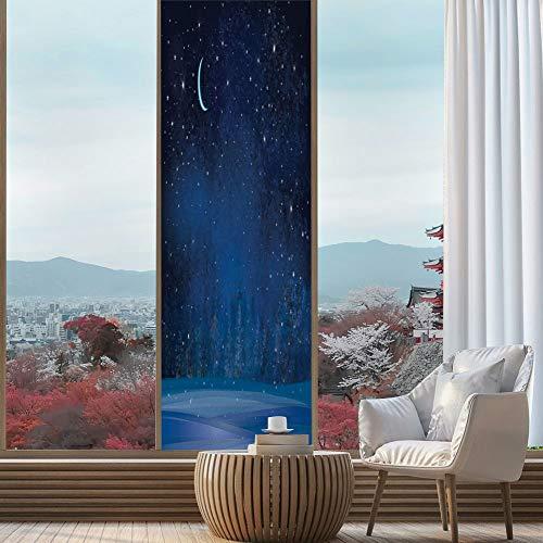 Wonderland Roll Room Winter (YOLIYANA Static Cling Decorative Window Film,Moon Decor,Suitable for Kitchen, Bedroom, Living Room,Mystic Winter Wonderland with Starry Sky Dark Night,24''x78'')