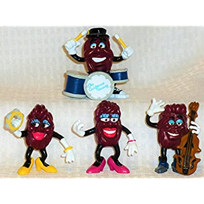 Vintage 1988 Ultra Rare California Raisins Complete THE BAND Set of 4-BASS PLAYER,YELLOW SHOES FEMALE with TAMBORINE,DRUMMER, PINK SHOES FEMALE-CMV $70-NEW in Factory Sealed Package: Toys & Games