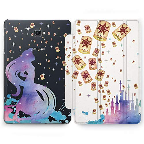 Wonder Wild Tangled Lantern Samsung Galaxy Tab S4 S2 S3 A E Smart Stand Case 2015 2016 2017 2018 Tablet Cover 8 9.6 9.7 10 10.1 Inch Clear Design Watercolor Walter Cartoon Rapunzel Princess (Case Galaxy Princess S2 Samsung)