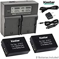 Kastar LCD Dual Fast Charger & 2 x Battery for Canon LP-E17 Battery LC-E17, LC-E17C Charger and Canon EOS M3, EOS Rebel T6i, EOS Rebel T6s, EOS 750D, EOS 760D, EOS 8000D, Kiss X8i