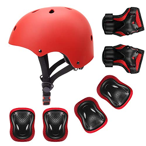 YUFU Kids Helmet Sports Protective Gear Set for 9-13 Years Children Boys Girls Bike Skateboard Adjustable Helmet Knee Elbow Wrist Pads for Cycling Skating Roller Scooter Bicycle, Pack of 7 Red M