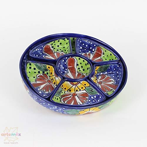 Mexican Talavera Botanero - Mexican Pottery - Mexican Dishes - Mexican Plates - Snack Tray - Mexican Kitchen Decor - Round Design - Large Talavera Plate