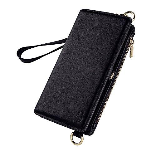 Detachable Zipper Strap (Leather Wallet Phone Case Cover for iPhone X, Zipper Cellphone Carrying Bag for Women,Detachable Slim Phone Case Adjustable Shoulder Strap Small Cell Purse Magnetic Closure Folio Case, Black)