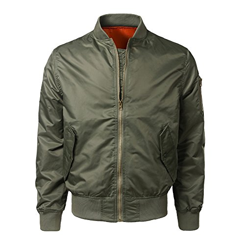 iLXHD Sport Casual Solid Slim Zipper Pocket Bomber Jacket Coat Outwear]()