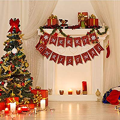 Merry Christmas Banner with Two Snowflake Flags Buffalo Plaid Decoration for Fireplace Wall Tree Wall Garden Indoor Outdoor Christmas Banner: Toys & Games