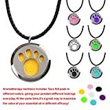 """M.JVisun Essential Oil Diffuser Necklace Dog Paw Prints Surgical Stainless Steel 24"""" Chain 7 Colored Pads"""