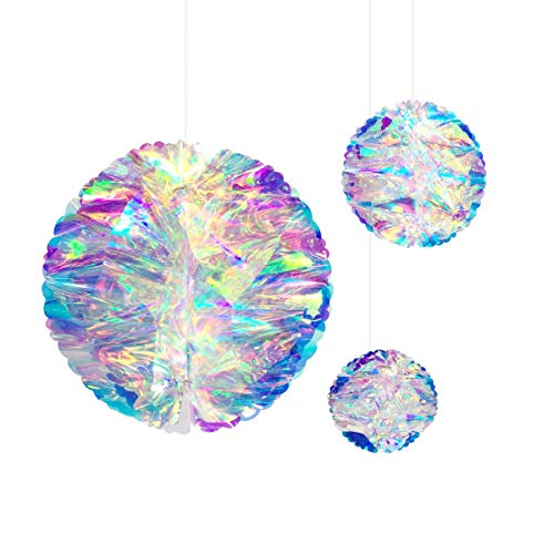NICROLANDEE Hanging Decorations Iridescent Honeycomb Ball Foil Ceiling Hanging Flowers for Wedding Birthday Party Supplies Baby Bridal Shower Fairy Princess Rainbow Show Decor ()