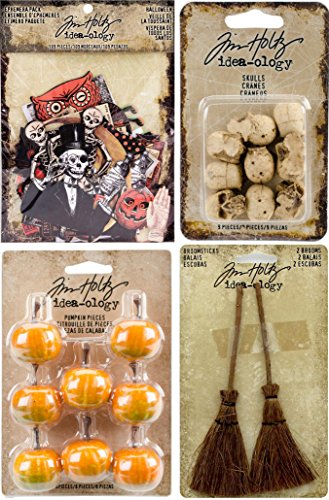Tim Holtz Idea-ology Halloween Bundle - Broomsticks, Skulls, Pumpkin Pieces and Halloween Ephemera - 4 iterms