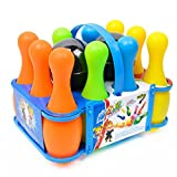 Kids Plastic Bowling Play Set 10 Pins 2 Balls Mini Bowling Set with Carrying Case Educational Party Toys Indoor Outdoor for Kids Boys Girls 3+