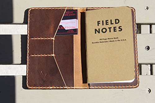 JP Leathercraft 111 Handmade Leather Case Cover Wallet Field Notes Moleskine Sunset Oil Tan