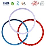 3 Pack Silicone Sealing Ring with Bonused Sealer - Instapot Silicone Seal Ring Replacement - Color Coded with 3 Different Colors - Perfect Accessory for 5/6 qt Instant Pot, Easy to Clean