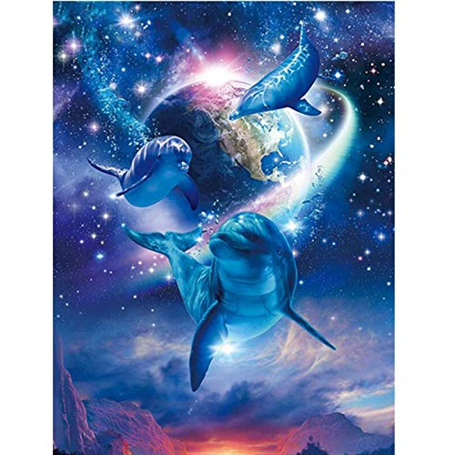 Diy 5D Diamond Painting Kit, Full Drill Blue Dolphin Earth?Embroidery Cross Stitch Arts Craft Canvas Wall Decor, 17.7 X 23.6 Inch(Frameless)