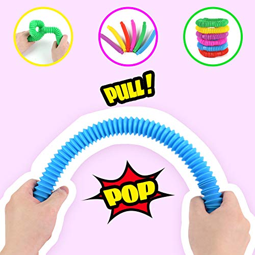 3 otters Pop Tube Toys, 15 PCS Sensory Toys Set Fidget Tube Sensory Tubes Stretchy String Great as Gift, Party Favors, and Prizes
