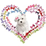 BINGPET Dog Hair Bows - 60pcs Varies Patterns Small Bowknot Pet Grooming Products with Clips and Rubber Band