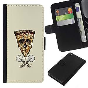 Protector de cuero de la PU de la cubierta del estilo de la carpeta del tirón BY RAYDREAMMM - HTC DESIRE 816 - Pizza de la bandera del cráneo de
