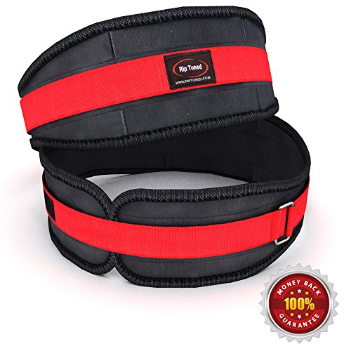 Lifting Belt By Rip Toned - 4.5 Inch Weightlifting Back Support & Bonus Ebook - For Powerlifting, Crossfit, Bodybuilding