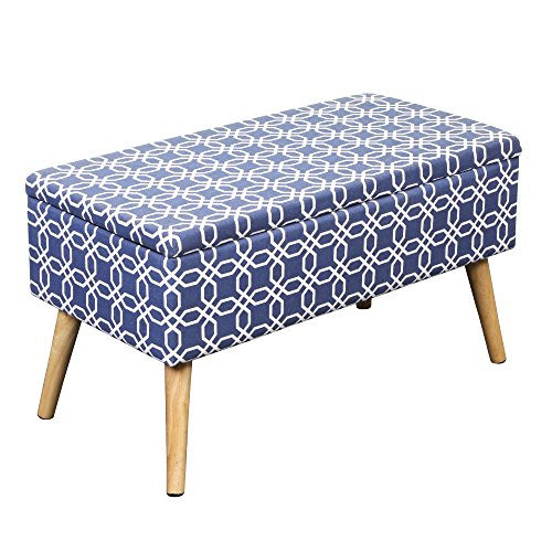 Bedroom Upholstered Ottoman (Otto & Ben 30-in EASY LIFT TOP Upholstered Ottoman Storage Bench – Octagon Blue feat. cushioned seating with hidden storage / pneumatic hinge / pre-drilled real wooden legs)