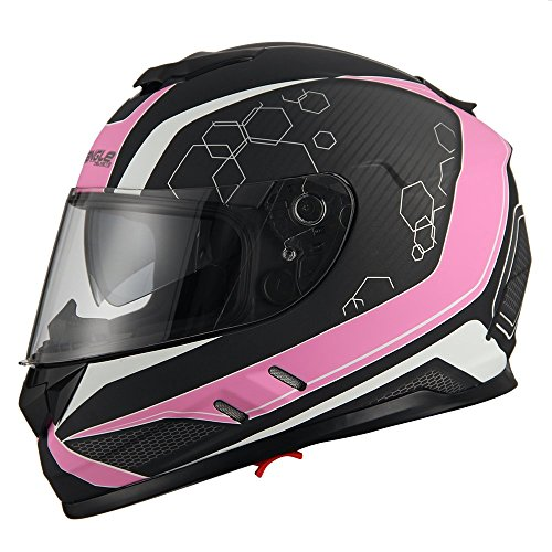 Triangle Motorcycle Street Bike Dual Visor Helmets DOT Approved (Small, Matte Pink) -